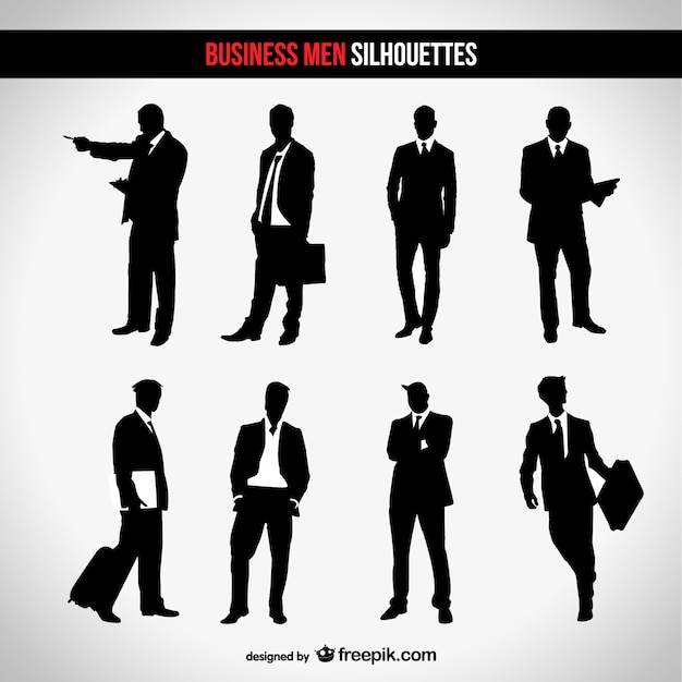 Businessman silhouette set Vector | Free Download