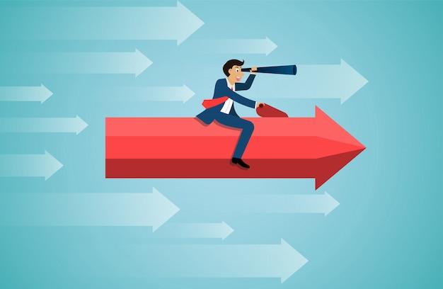 Businessman sit on red arrow hold binoculars forward fly on