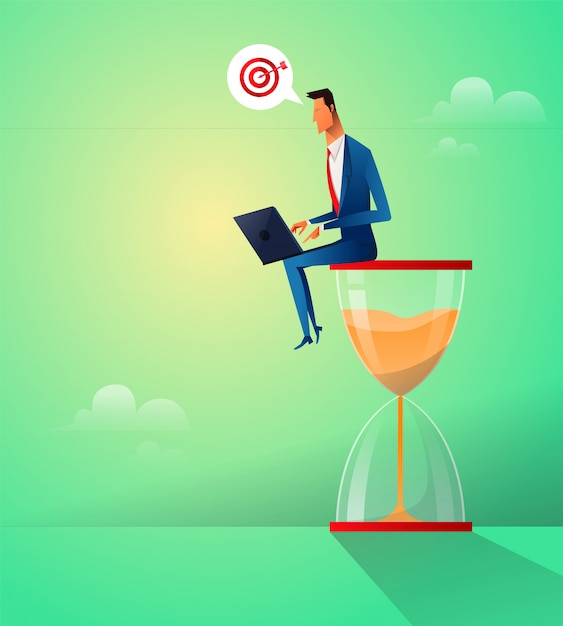 Businessman sitting on the hourglass Premium Vector