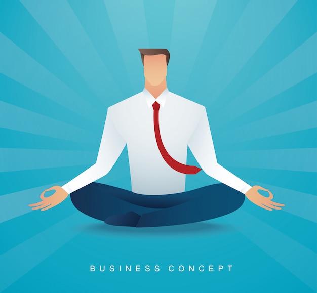 Businessman sitting in lotus pose meditation Premium Vector