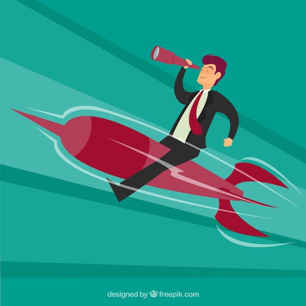 Businessman sitting on a rocket Free Vector