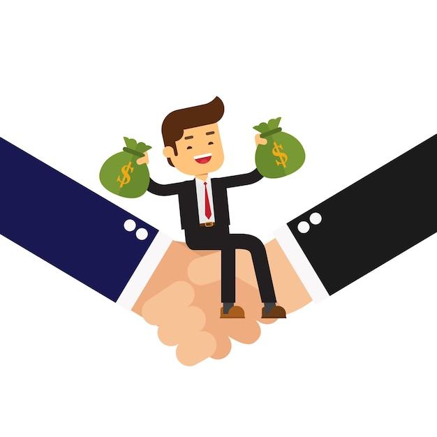 Бизнесмен, сидя на рукопожатие и проведение денежный мешок Premium векторы
