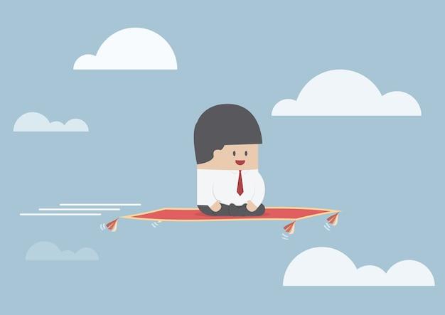 飛ぶカーペットに座っているビジネスマン Premiumベクター