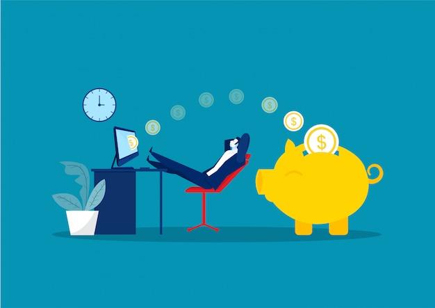 座って、リラックスして、受動的にお金を稼ぐビジネスマン。金融、投資、富、受動的収入。コンセプトワークオフィス Premiumベクター