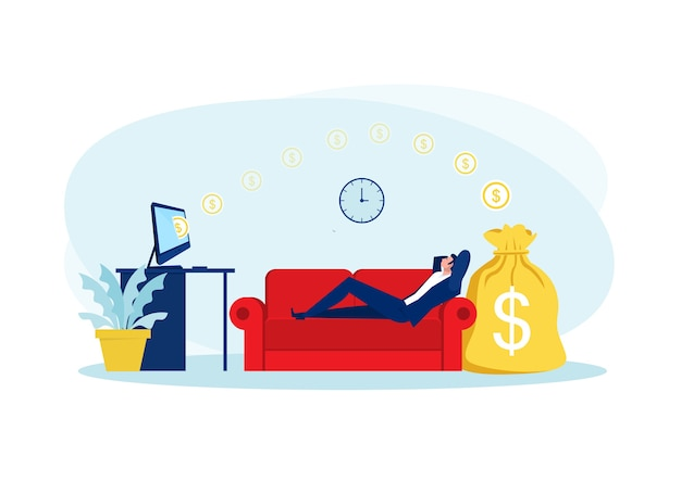 Businessman sitting on sofa , relaxing and making money passively. finance, investment, wealth, passive income.concept work office Premium Vector