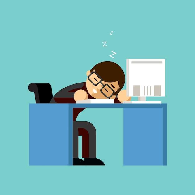 Uomo d'affari che dorme sulla sua scrivania in ufficio. tavolo e lavoro, sonno e lavoro, pisolino e pigro, addormentato e lavoratore. Vettore gratuito