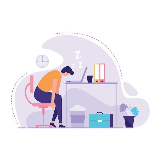 Businessman sleeping at his office illustration Premium Vector
