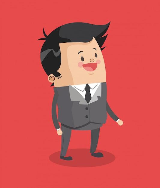 Businessman smiling cartoon Premium Vector