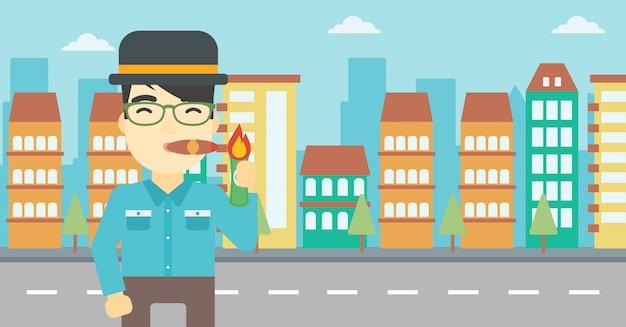 Businessman smoking cigar vector illustration. Premium Vector