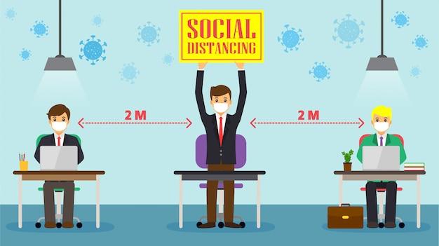 Бизнесмен, социальное дистанцирование на офисной рабочей станции. сотрудники работают вместе на столе с сохранением расстояния для вируса ковид 19 Premium векторы