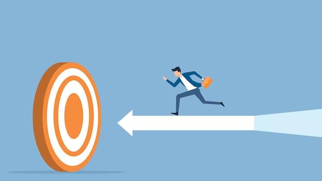 Businessman speed running to target Premium Vector