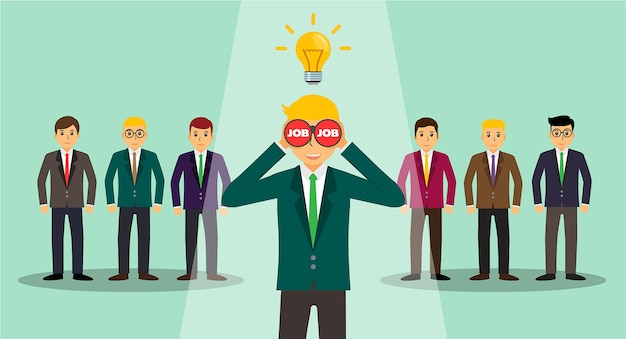 Businessman in spotlight isolated on background Premium Vector