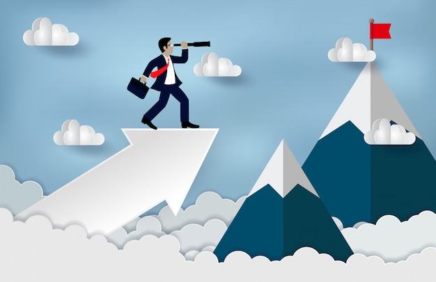 Businessman standing on a arrow to looking with the telescope growth modern ideas and to achieve higher Premium Vector