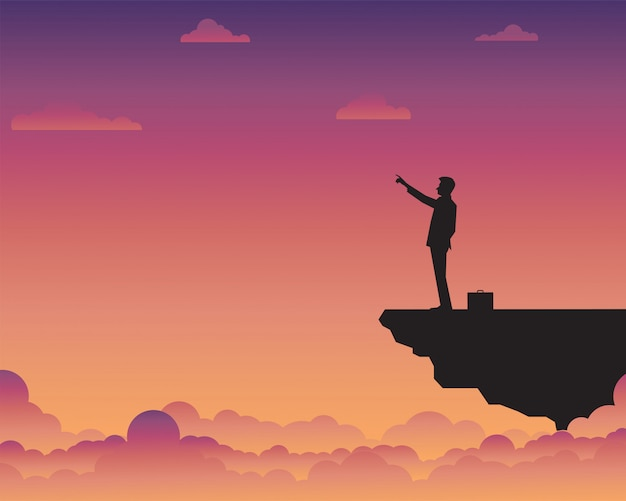 Businessman standing on cliff Premium Vector