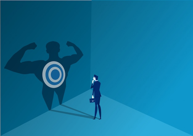 Businessman standing to decide with strong power to goal concept illustrator vector Premium Vector