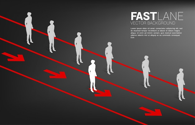 Businessman standing on fast lane is move faster than group on queue. business concept of fast lane for moving and disruption. Premium Vector