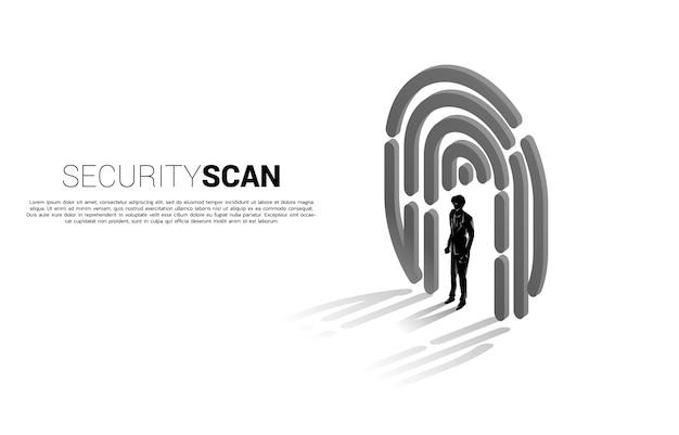 Businessman standing in finger scan icon. Premium Vector
