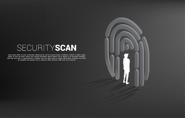 Businessman standing in finger scan symbol. background concept for security and privacy technology for identity data Premium Vector