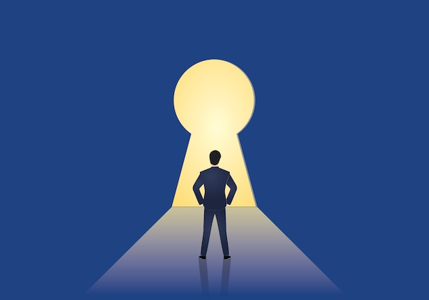 Businessman standing in front of a keyhole Premium Vector