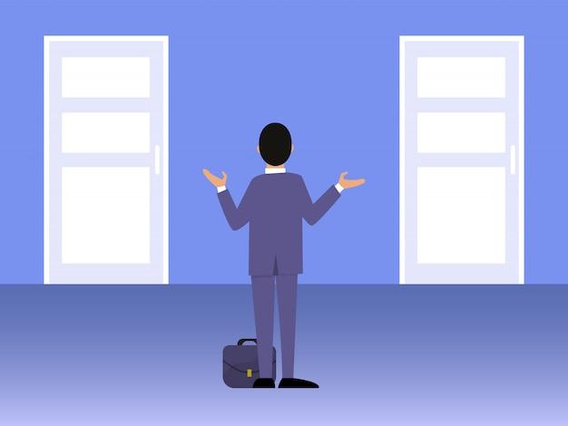 Businessman standing in front of two doors illustration. Premium Vector