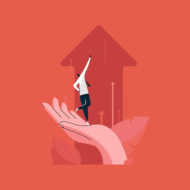 Businessman standing on human hand and pushing the business chart arrows upward, business team growth concept Premium Vector