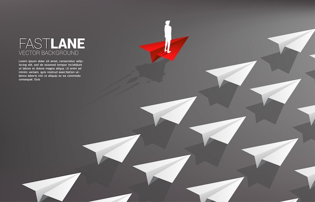 Businessman standing on red origami paper airplane is move faster than group of white. Premium Vector