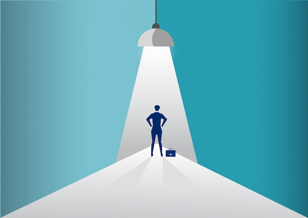 Businessman standing in spotlight or searchlight looking for new career opportunities. illustration. Premium Vector