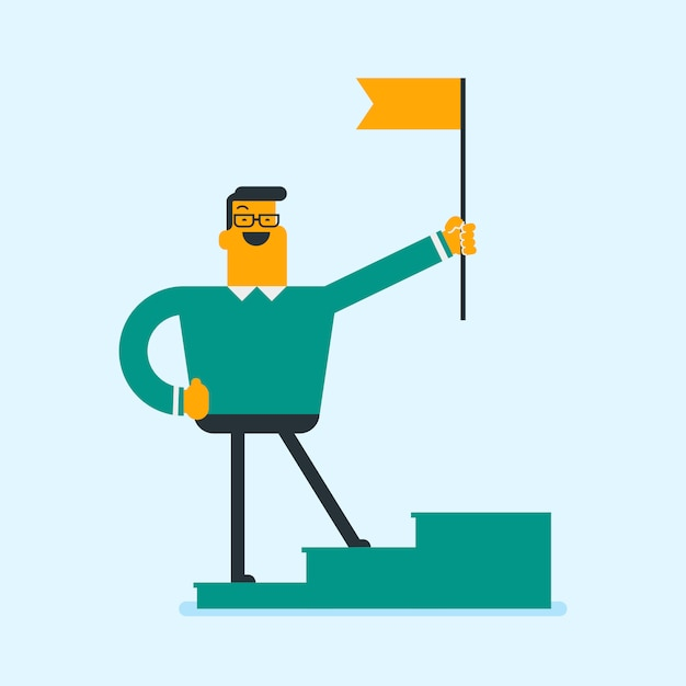 Businessman standing on winner podium with a flag. Premium Vector