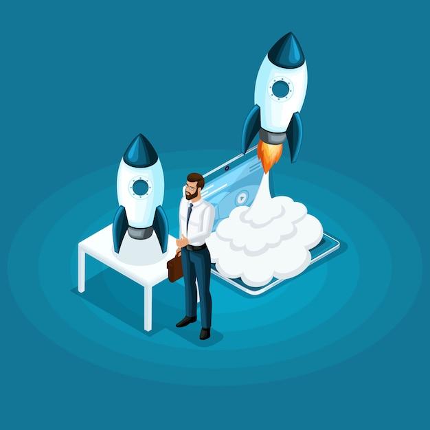 Бизнесмен стоит с ico запуска проекта запуска ракеты в небо, концепция развития бизнеса Premium векторы