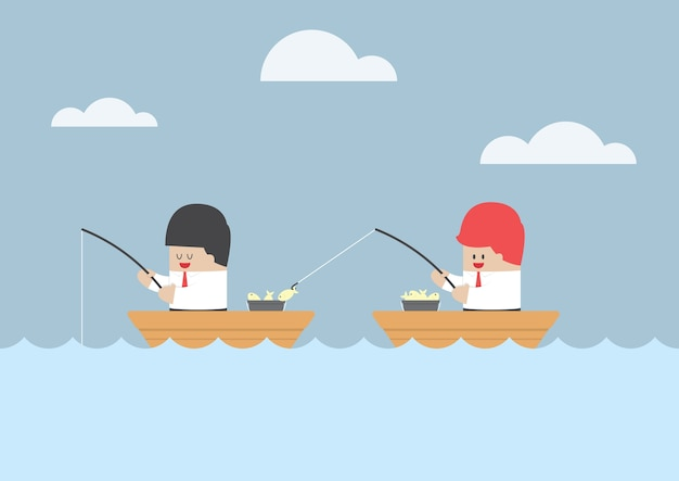 Businessman stealing fish from his friend Premium Vector
