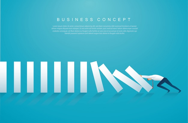 Businessman stopping the domino effect Premium Vector