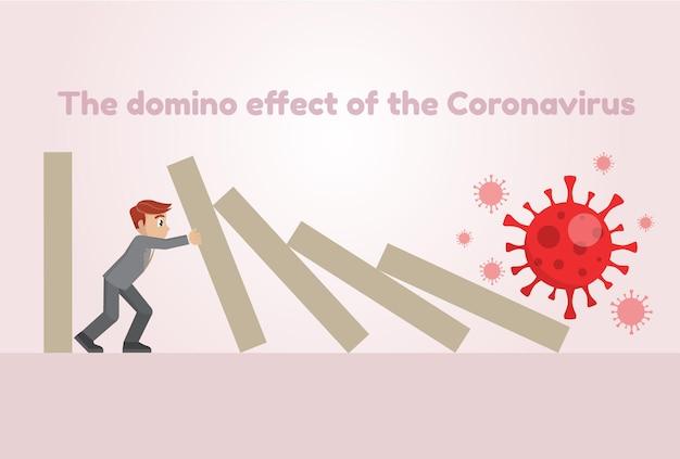 コロナウイルスによるドミノ効果を止めるビジネスマン(covid-19) Premiumベクター