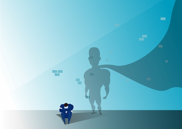 Businessman stress form businessman fail for opportunity again with silhouette hero man illustration Premium Vector