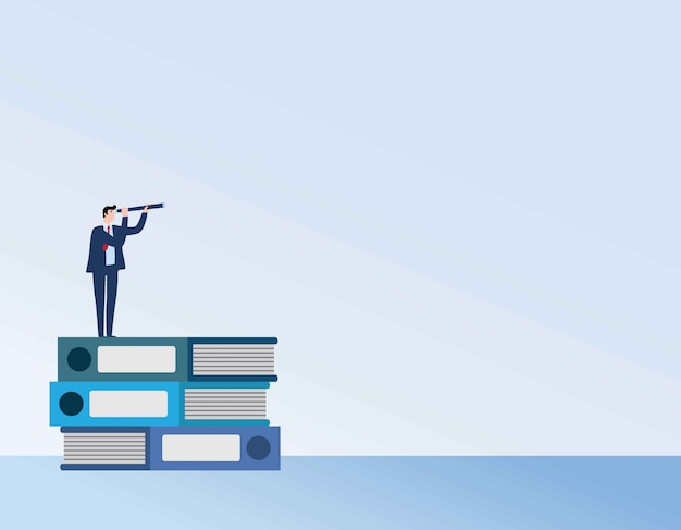 Businessman or student standing on book looking at future. Premium Vector