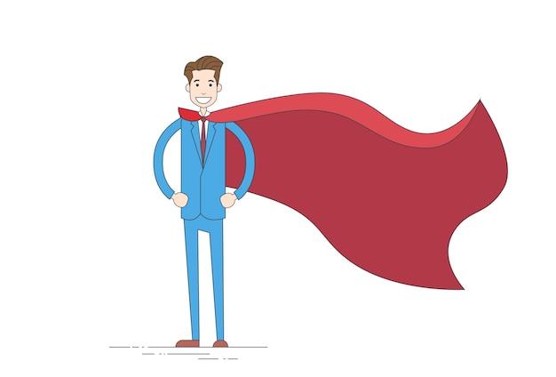 Premium Vector Businessman Super Hero Cartoon Wear Suit Red Cape