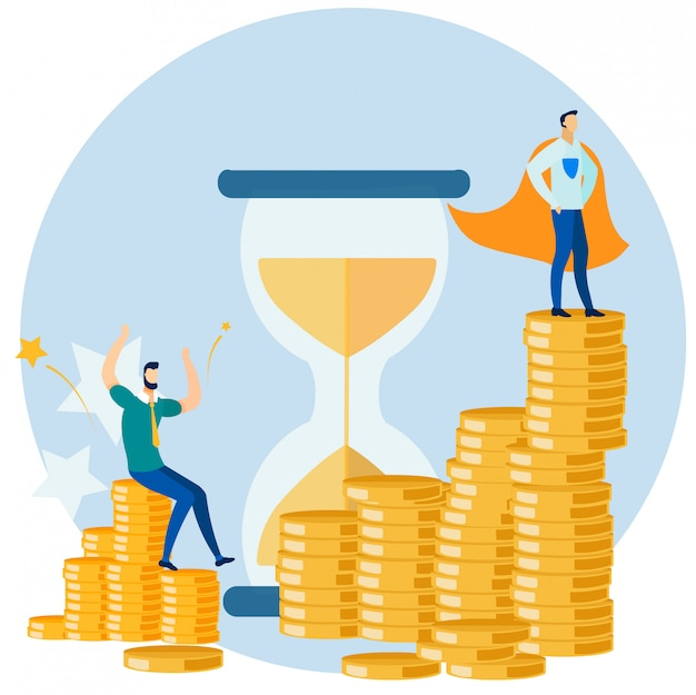 Businessman and super hero on gold coins stack Premium Vector