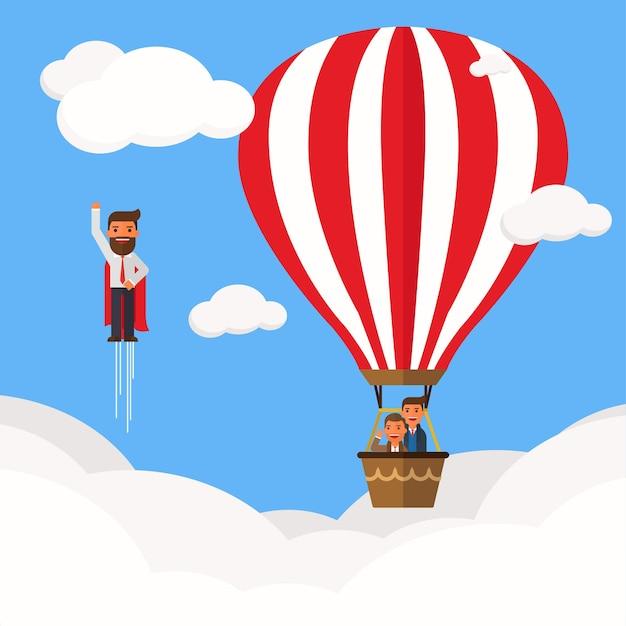 Businessman superhero fly pass businessman in hot air balloon Premium Vector