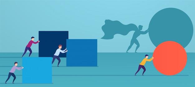 Businessman superhero pushes red sphere, overtaking competitors. Premium Vector