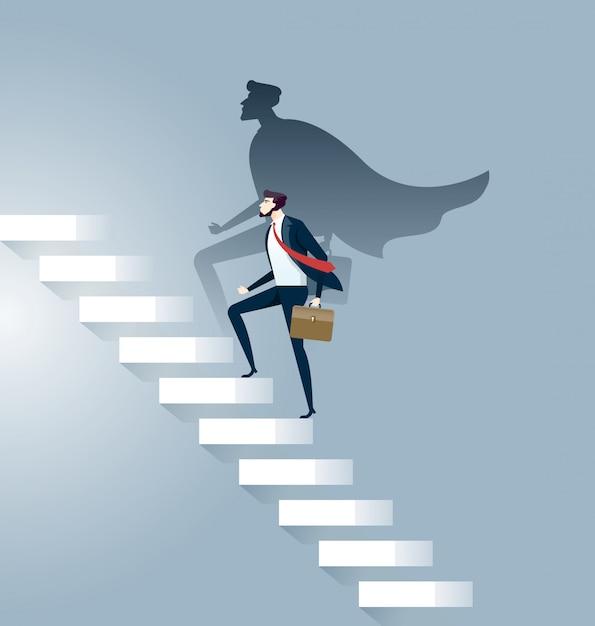 Businessman superhero successful in career ladder concept Premium Vector