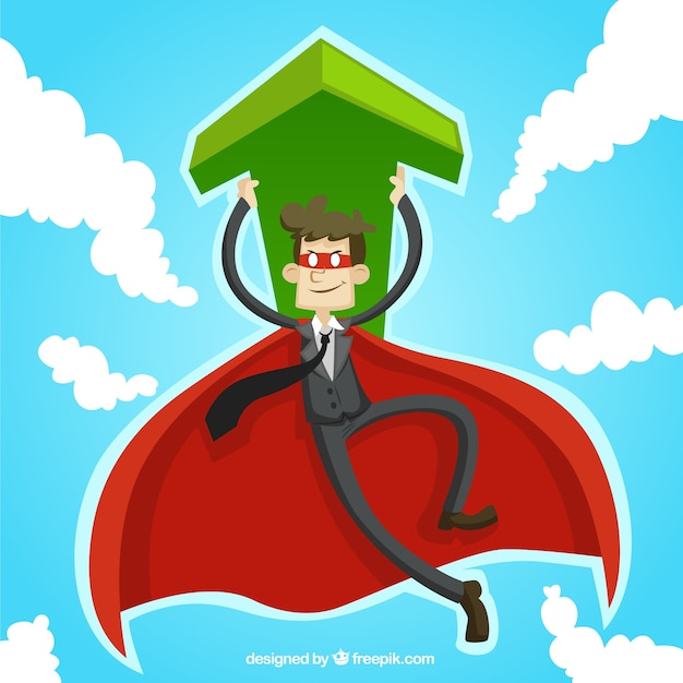 businessman superhero with an arrow Free Vector