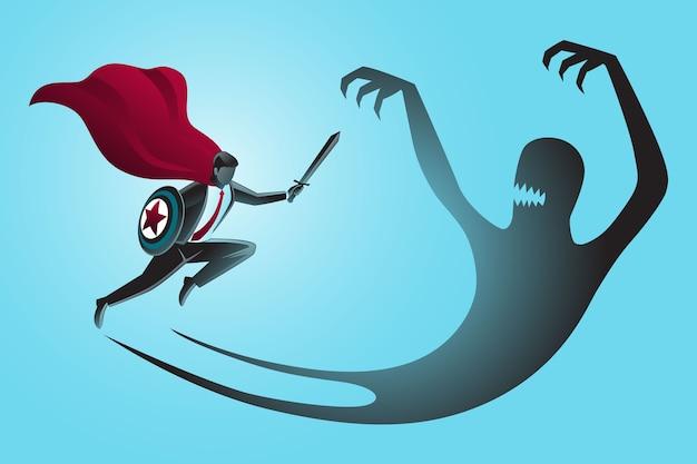 Бизнесмен супергерой с мечом и щитом борется со своей собственной злой тенью Premium векторы