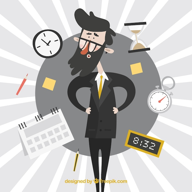 Businessman surrounded by clocks Free Vector