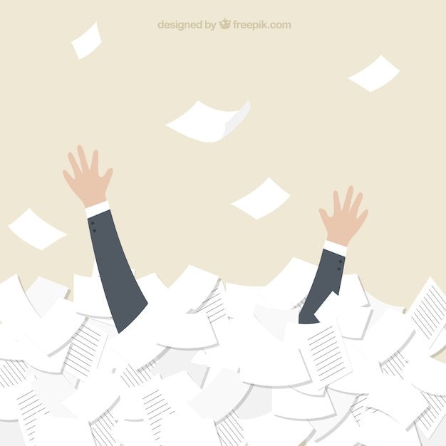 Businessman swimming in documents Free Vector