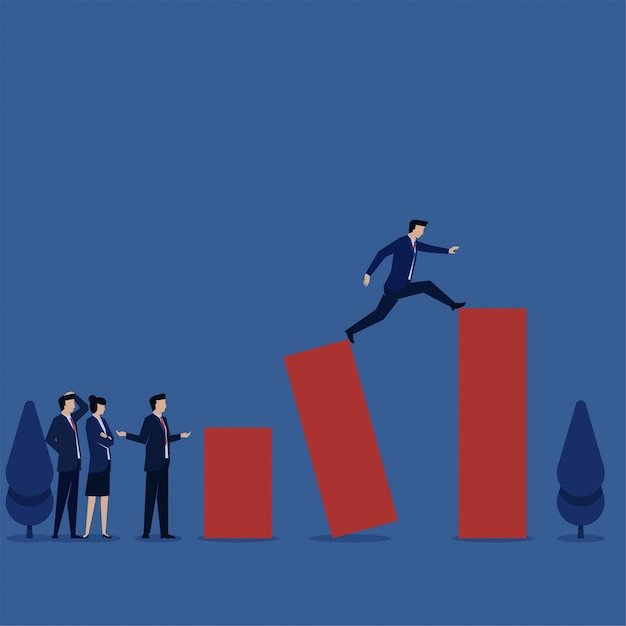 Businessman take a leap to next target metaphor of risk and strategy. Premium Vector