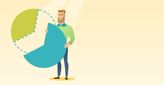 Businessman taking his share of the profits. Premium Vector