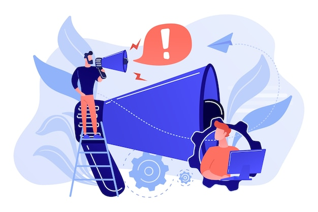 Businessman talk in megaphone with exclamation point. draw attention, attention span and take note, requiring attention concept on white background. Free Vector