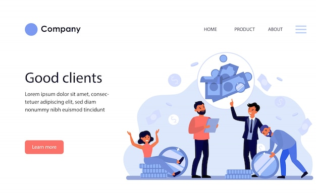 Imprenditore parlando ai clienti di investimenti e risparmi. modello di sito web o pagina di destinazione Vettore gratuito