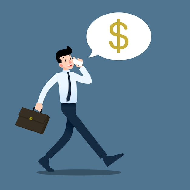 Businessman talking to mobile phone. Premium Vector
