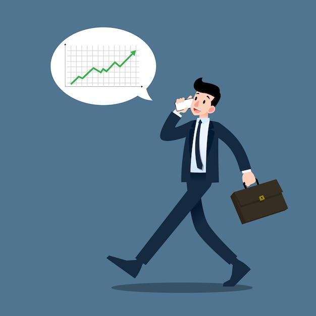 Businessman talking to mobile phone. Premium Vector