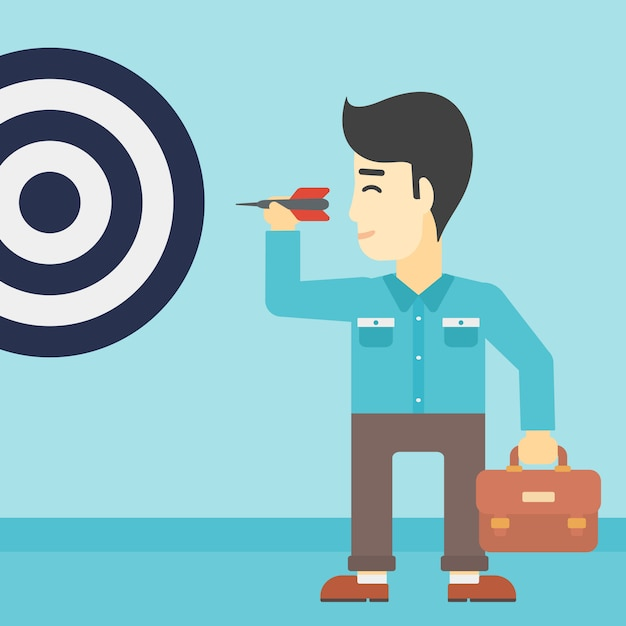 Businessman and target board Premium Vector